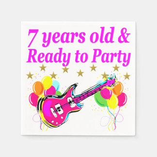 7 YEARS OLD AND READY TO PARTY 7 YR OLD ROCK STAR NAPKIN