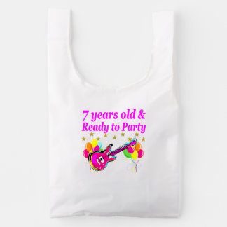 7 YEARS OLD AND READY TO PARTY 7 YR OLD ROCK STAR REUSABLE BAG