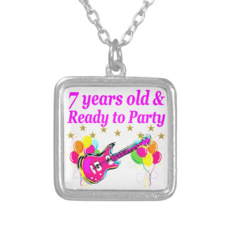 7 YEARS OLD AND READY TO PARTY 7 YR OLD ROCK STAR SILVER PLATED NECKLACE