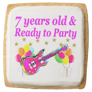 7 YEARS OLD AND READY TO PARTY 7 YR OLD ROCK STAR SQUARE SHORTBREAD COOKIE
