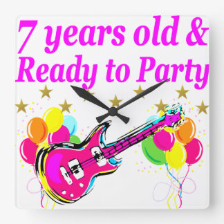 7 YEARS OLD AND READY TO PARTY 7 YR OLD ROCK STAR SQUARE WALL CLOCK