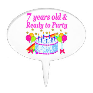 7 YEARS OLD AND READY TO PARTY BIRTHDAY GIRL CAKE TOPPER