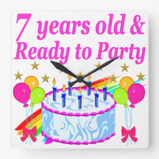 7 YEARS OLD AND READY TO PARTY BIRTHDAY GIRL SQUARE WALL CLOCK