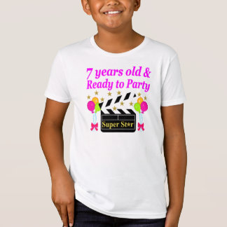7 YEARS OLD AND READY TO PARTY MOVIE STAR DESIGN T-Shirt