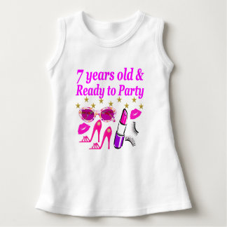 7 YEARS OLD AND READY TO PARTY PRINCESS DESIGN DRESS