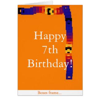 7ma tarjeta del cumpleaños del niño