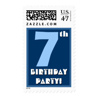 7mo Azul intrépido de la fiesta de cumpleaños y Estampilla