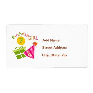 7mo cumpleaños - chica del cumpleaños etiquetas de envío