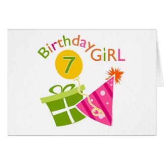 7mo cumpleaños - chica del cumpleaños tarjeta de felicitación