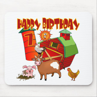 7mo Cumpleaños de la granja del cumpleaños Tapetes De Ratón