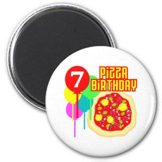 7mo Cumpleaños de la pizza del cumpleaños Imán Redondo 5 Cm