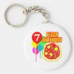 7mo Cumpleaños de la pizza del cumpleaños Llaveros Personalizados