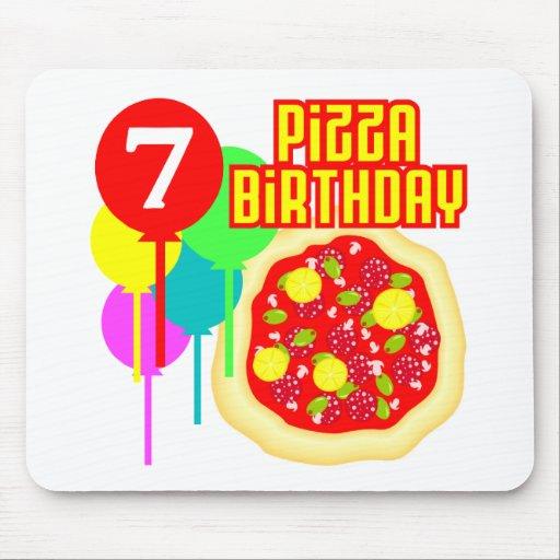 7mo Cumpleaños de la pizza del cumpleaños Tapetes De Raton