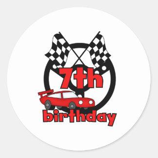 7mo cumpleaños de las carreras de coches pegatina redonda