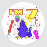 7mo Cumpleaños del dinosaurio del cumpleaños Pegatina Redonda