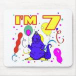 7mo Cumpleaños del dinosaurio del cumpleaños Alfombrillas De Ratones
