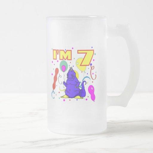 7mo Cumpleaños del dinosaurio del cumpleaños Taza De Café