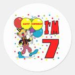7mo Cumpleaños del payaso del cumpleaños Pegatinas Redondas