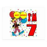7mo Cumpleaños del payaso del cumpleaños Postal