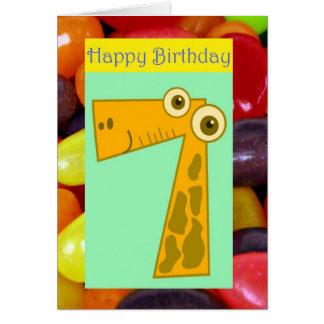 7mo cumpleaños del séptimo cumpleaños feliz que da tarjeta de felicitación