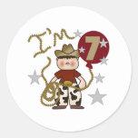 7mo Cumpleaños del vaquero Pegatina Redonda