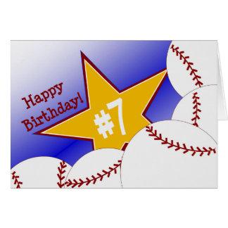 ¡7mo cumpleaños feliz, bateador! tarjeta de felicitación