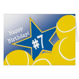 ¡7mo cumpleaños feliz, estrella de tenis! tarjeta de felicitación
