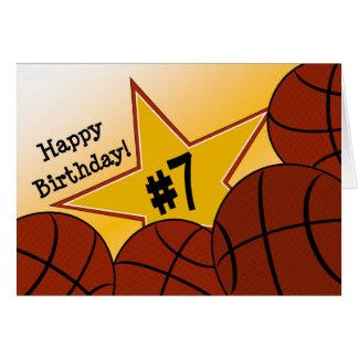 ¡7mo cumpleaños feliz, estrella del baloncesto! tarjeta de felicitación
