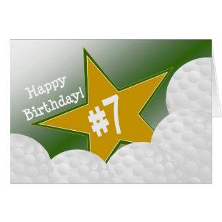 ¡7mo cumpleaños feliz, estrella del golf! tarjeta de felicitación