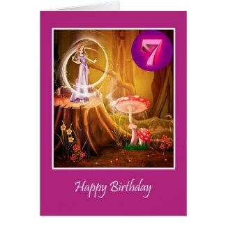 7mo cumpleaños feliz para el chica con la hada tarjeta de felicitación