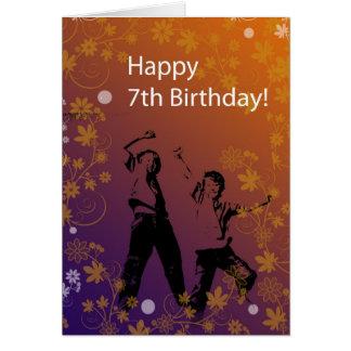 7mo cumpleaños feliz para el muchacho tarjeta de felicitación