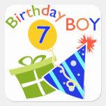 7mo cumpleaños - muchacho del cumpleaños calcomanias cuadradas