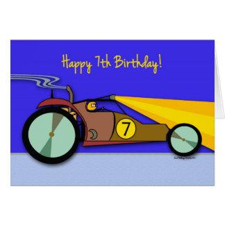 7mo Cumpleaños para el niño, coche de playa que co Felicitación