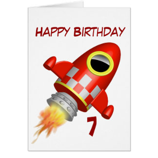7mo del feliz cumpleaños poco tema del cohete tarjeta de felicitación