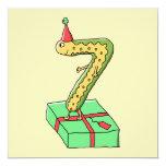 7mo Dibujo animado, amarillo y verde del Invitación 13,3 Cm X 13,3cm