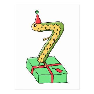7mo Dibujo animado, amarillo y verde del Tarjeta Postal