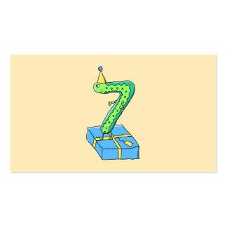 7mo Dibujo animado, verde y azul del cumpleaños Tarjetas De Visita