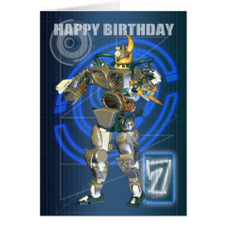 7mo Feliz cumpleaños con el guerrero del robot Tarjeta De Felicitación