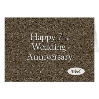 7mo feliz. Lanas del aniversario de boda Tarjeta De Felicitación