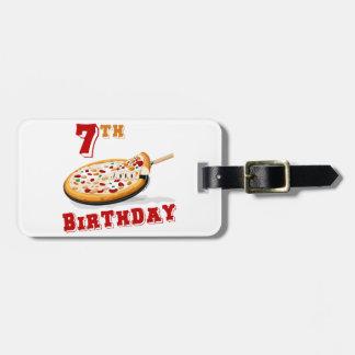 7mo Fiesta de la pizza del cumpleaños Etiquetas De Maletas