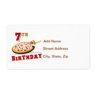 7mo Fiesta de la pizza del cumpleaños Etiquetas De Envío