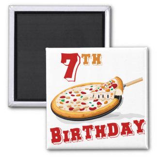 7mo Fiesta de la pizza del cumpleaños Imán Cuadrado