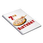 7mo Fiesta de la pizza del cumpleaños Libro De Apuntes Con Espiral