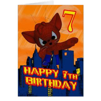 7mo Gato de la araña del cumpleaños, tarjeta de cu