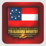 7mo Infantería de Alabama Pegatina Cuadrada