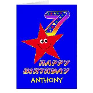 7mo nombre del personalizado del cumpleaños de la tarjeta de felicitación