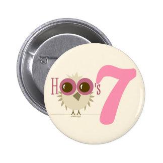 7mo Rosa de botón del tema del búho del cumpleaños Pins
