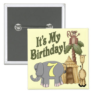 7mo Safari del cumpleaños Pin Cuadrado