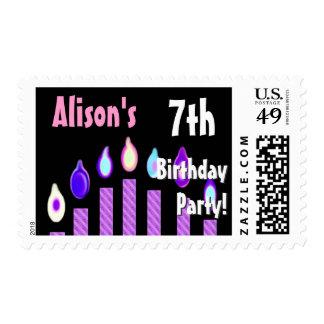 7mo sello de la fiesta de cumpleaños del NOMBRE DE
