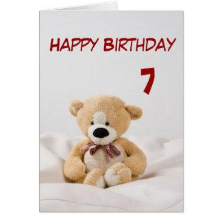 7mo tema del oso de peluche del feliz cumpleaños tarjeta de felicitación